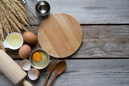 kitchen utensils for cooking on the wooden table, food prepare concept