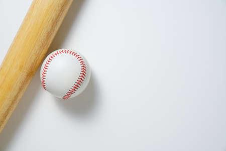 baseball and baseball bat on white background, top view