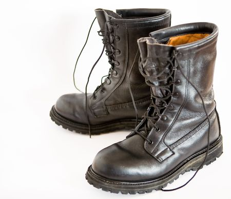 sturdy: Dark brown leather military boots