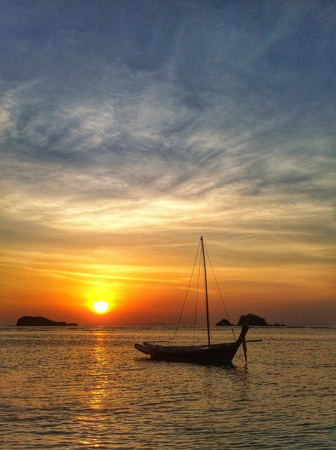 reflective: How beautiful sunset Stock Photo
