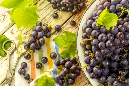 Blue frash grapes in orange metal bowl with scissors on the wooden background