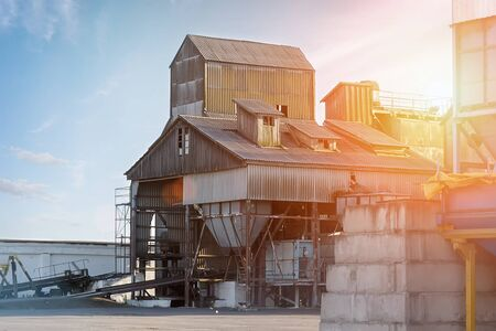 Grain processing complex intended for coarse purification, drying up, and temporary storage of grain.