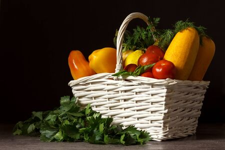 organic food background Vegetables in the basket 스톡 콘텐츠