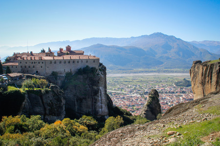 The rocky temple Christian Orthodox complex of Meteora is one of the main attractions of the north of Greece and one of the oldest temples of the country, located high on the rocks.