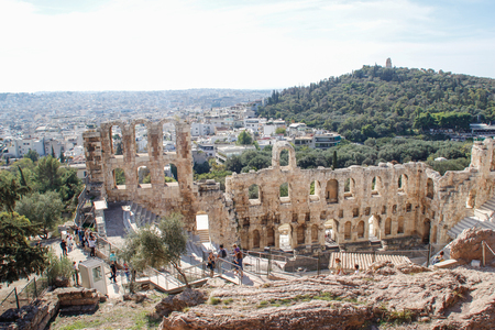 Ancient amphitheater in Acropolis, Athens. Greece