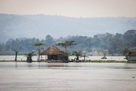 Hut on the Nile River. Uganda
