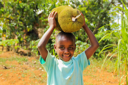Kampala, Uganda - January 26, 2015: African child playing with fruits from his parents farm on a street in Kampala.