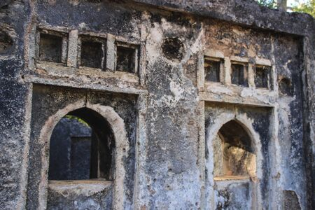 The ancient abandoned Arab city of Gede, near Malindi, Kenya. Classical Swahili architecture. They include a mosque, palace, houses and tombs as well as a fort