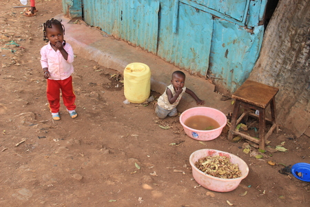 Kibera, Nairobi, Kenya - February 13, 2015: Children play in the slums of Nairobi - one of the poorest places in Africa