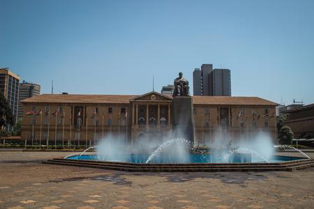 Nairobi, Kenya - January 17, 2015: Monument to Kenyas first president Jomo Kenyatta in Nairobi Editorial