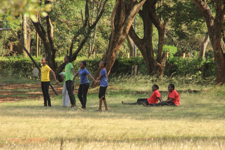 Nairobi, Kenya - January 19, 2015: A group of African black children play the popular childrens game