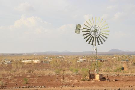 Marsabit, Kenya - January 16, 2015: Old school type windmill in a Kenyan field Editorial