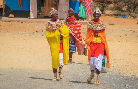 Marsabit, Kenya - January 16, 2015: African women from the Samburu tribe (akin to the Masai tribe) in national jewelery.