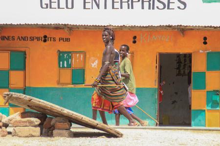 Marsabit, Kenya - January 16, 2015: African men from the Samburu tribe (related to the Masai tribe) in national jewelery.