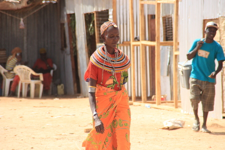 Marsabit, Kenya - January 16, 2015: Kenyan woman from the Samburu tribe (related to the Masai tribe) in national jewelery.