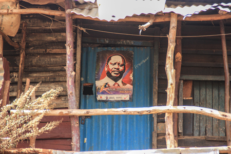 Kibera, Nairobi, Kenya - February 13, 2015: A poster of a local deputy is one of the poorest places in Africa