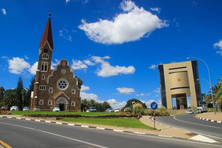 Windhoek, Namibia - April 15, 2015: The classic German Lutheran Church of Christ in Windhoek. One of the main attractions of the city.