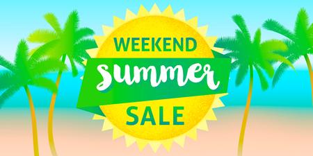 Weekend summer sale banner design template.