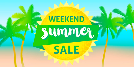 Weekend summer sale banner design template.
