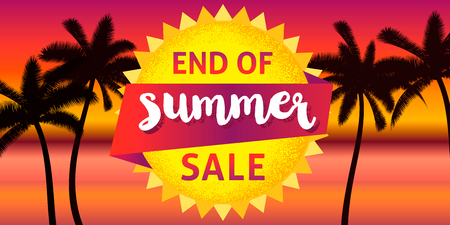 End of summer sale banner design template. 写真素材 - 117261949