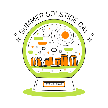 Illustration of summer solstice on june 21. Snowball with Stonehenge.