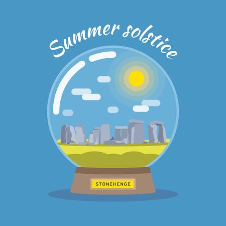 flat illustration of solstice on June 21. Snowball with Stonehenge. Illustration