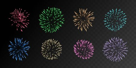Collection of eight realistic fireworks in different colors isolated on black background. Eps10 gradient mesh vector elements. Illustration