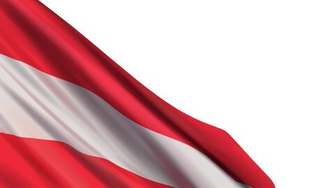 Background with a realistic flag of Austria isolated on a white background. Vector element for Austria National Day, 26 October.