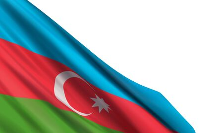 Background with a realistic flag of Azerbaijan. Vector element for Republic Day, National Salvation Day, Day of the Armed Forces of Azerbaijan, State Flag Day, International Solidarity Day of Azerbaijanis. Illusztráció