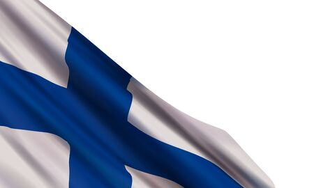 The realistic flag of Finland isolated on a white background. Vector element for Independence Day, December 6.