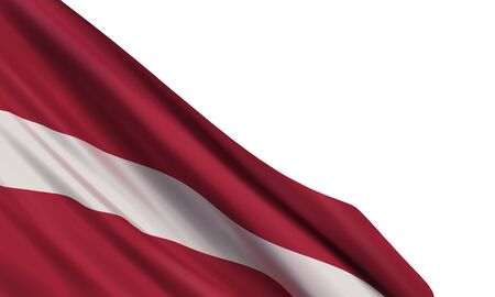 Background with a realistic flag of Latvia. Vector element for Declaration of Independence Day, National Day.