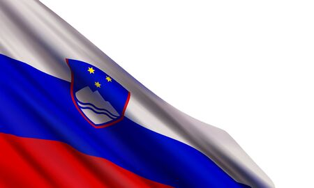 The realistic flag of Slovenia isolated on a white background. Vector element for Prešeren Day, Resistance Day, Statehood Day, Independence and Unity Day.