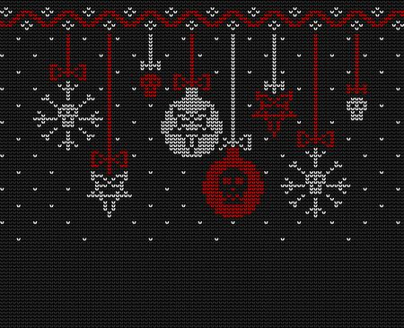 Ugly sweater knitted design  in black, red and white colors. Christmas balls decorated with a pentagram and a skull. Stock Illustratie
