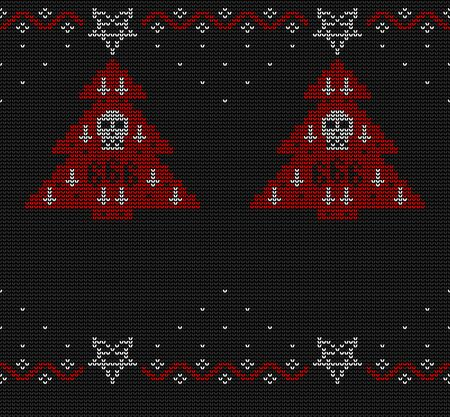 Ugly sweater knitted seamless pattern in black, red and white colors. Christmas tree decorated with a pentagram, inverted crosses and a skull.