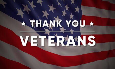 Plantilla de diseño de banner de vector para el Día de los Veteranos con bandera americana realista y texto: Gracias Veteranos.