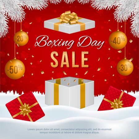 Vector Boxing Day sale banner with gift boxes, New Year golden balls, white fir branches and text on winter background. Ilustracja