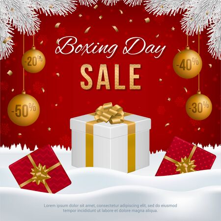 Vector Boxing Day sale banner with gift boxes, New Year golden balls, white fir branches and text on winter background. Ilustrace