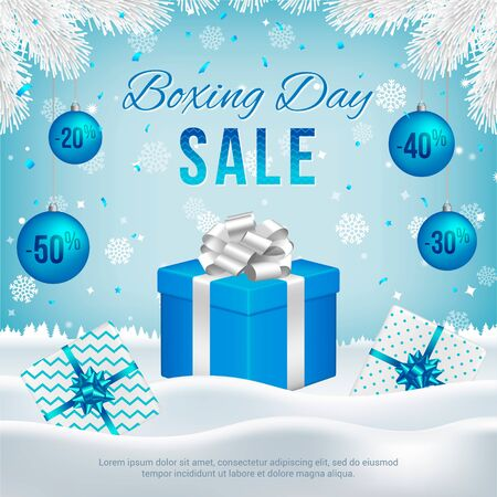 Vector Boxing Day sale banner with gift boxes, New Year blue balls, white fir branches and text on winter background.