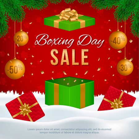 Vector Boxing Day sale banner with gift boxes, New Year golden balls, fir branches and text on winter background.