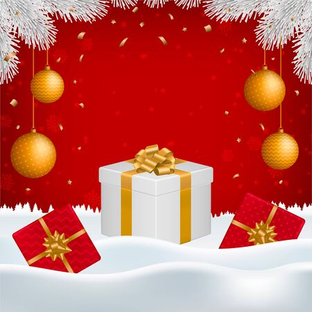 Vector Christmas, New Year background with gift boxes, golden balls, white fir branches and blank space for your text on red backdrop with falling snowflakes and snow. Ilustrace