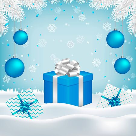Vector Christmas, New Year background with gift boxes, blue balls, white fir branches and blank space for your text on blue backdrop with falling snowflakes and snow.