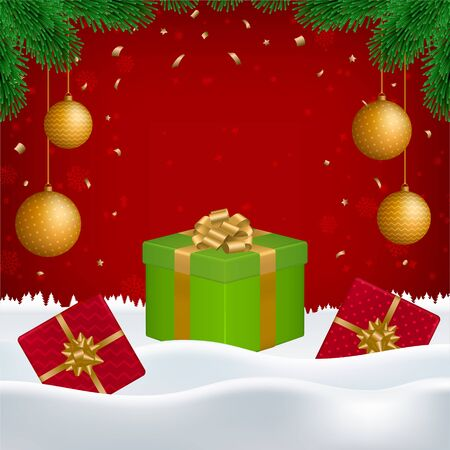 Vector Christmas, New Year background with gift boxes, golden balls, fir branches and blank space for your text on red backdrop with falling snowflakes and snow. Ilustracja