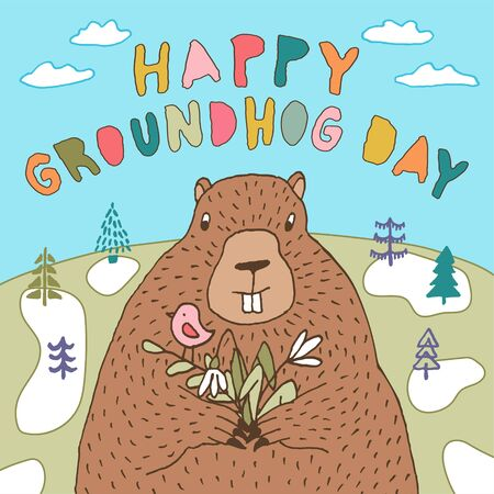 Happy Groundhog Day vector greeting card with hand drawn cute stylized groundhog holding a bouquet of snowdrops in the background of a forest landscape and lettering.