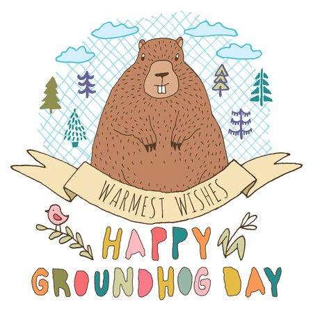 Happy Groundhog Day vector greeting card with hand drawn cute stylized groundhog, trees, branch, bird, flower, clouds, round grid shape, ribbon and lettering. Illustration