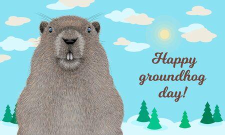 Happy Groundhog Day greeting card
