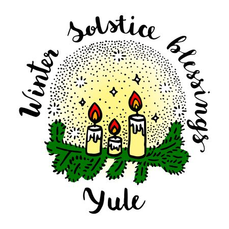 Yule (winter solstice day) greeting card with candles and fir branches. 向量圖像