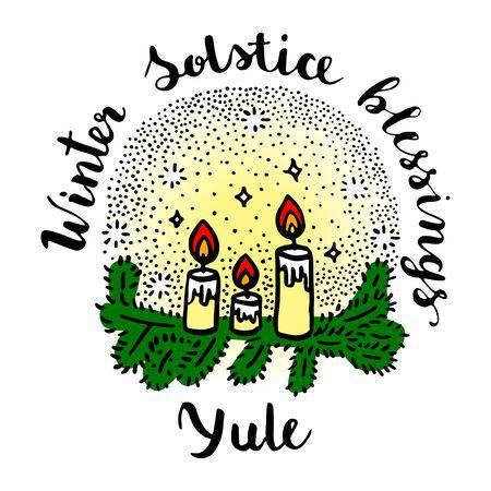 Yule (Wintersonnenwende-Tag) Grußkarte mit Kerzen und Tannenzweigen.