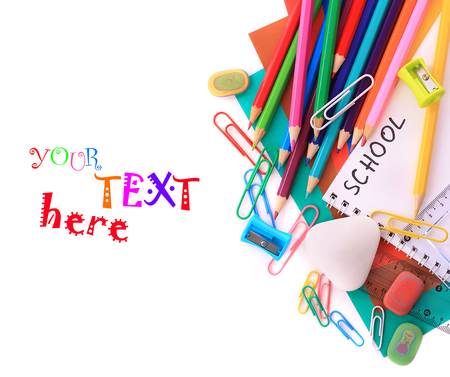 School stationery isolated over white photo