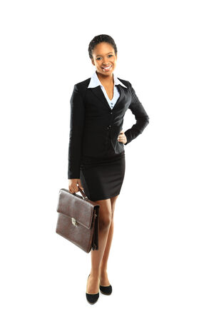 brazilian woman: African american business woman holding a handbag Stock Photo