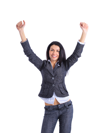 Winner business woman isolated photo